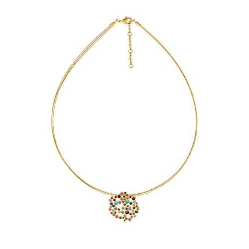 JOIDART – Collar Dorado Candy Colours | Diseñado por Joidart | Colección Candy Colours | Metal con baño de Oro de 24 K | Collar con Cable de Acero de Color Dorado