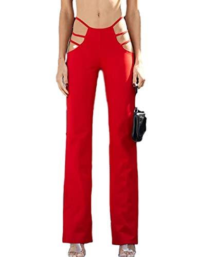 N / D Frauen schneiden Yoga-Hosen aus Elastic Waist Flare Bootleg Work Long Pants Bottom Hosen (Red, S)