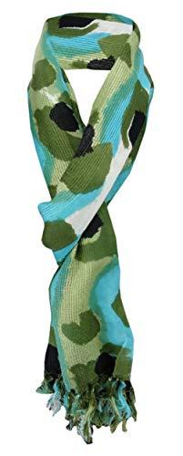 TigerTie sjaal in olijfgroen turquoise zwart wit- camouflagepatroon camouflage - maat 180 x 50 cm.
