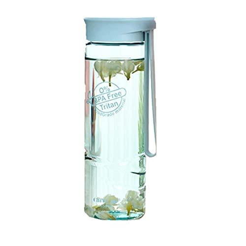 Botella de agua Botellas Gimnasio Deportes Ciclismo Correr Pequeño Grande,Botella de agua de plástico Tritan material-Blue_450ML,Botella de agua plástica libre de la taza del viaje del frasco