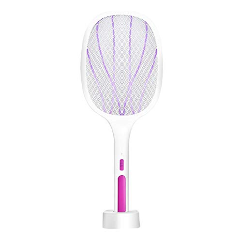 ASKLKD Mosquitero eléctrico Swatter 2 en 1 Mosquitera eléctrica Swatter Handheld Hogar LED UV Light USB Pesta Racket Fly Bug Trap Anti Mosquito Zapper (Color : Purple)
