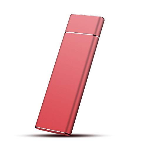 Disque Dur Externe 2to, Disque Dur Externe USB3.1 Type-C Portable pour PC, Mac, Xbox One, MacBook, Desktop, Laptop, Chromebook, Xbox 360(2To,Rouge)