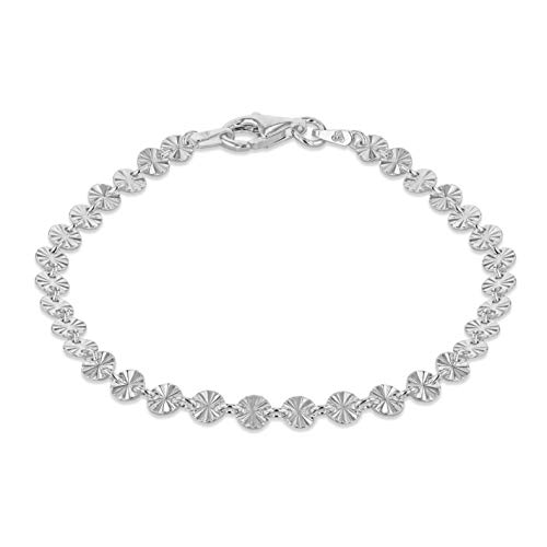Tuscany Silver Pulsera para Mujer en Plata, Discos con Rayos de Sol - 18cm