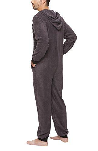 SLOUCHER – Herren Fleece Jumpsuit Jogger Onesie Overall Einteiler mit Reißverschluss und Kapuze, Farbe:anthrazit - 2