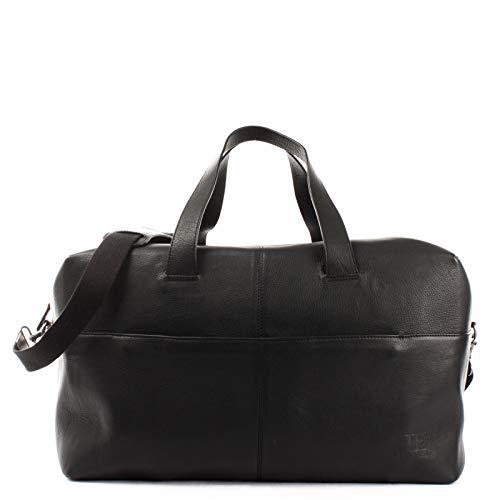 LECONI Reisetasche für Frauen und Männer großer Weekender aus Nappaleder Rindsleder Sporttasche für Damen und Herren Leder 55x30x25cm schwarz LE2024-nap