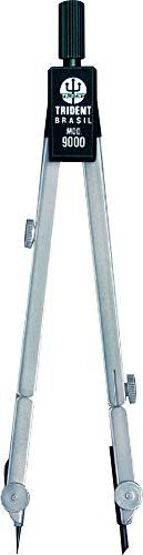 Compasso Técnico Completo com Haste Prolongadora, Trident, 9000, Cromo Fosco, Traça Circunferências de Até 49 cm