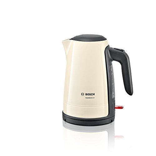 Bosch TWK6A017 ComfortLine kabelloser Wasserkocher, 1-Tassen-Funktion, große Öffnung, Überhitzungsschutz, entnehmbarer Kalkfilter, 1,7 L, 2400 W, creme