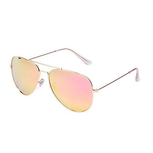 Qixuan QIXU Polarizadas Gafas de Sol Aviador Rosa para Hombre y Mujer Efecto Espejo Lente Antirreflejante UV400 con el Caso