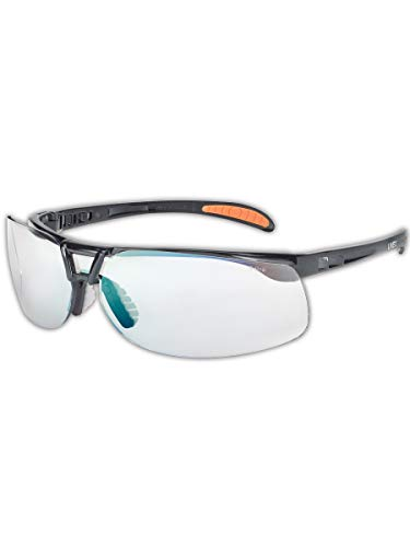 Uvex by Honeywell Protégé Safety Glasses, Metallic Black Frame with SCT-Reflect 50 Lens & Ultra-Dura Anti-Scratch Hardcoat (S4202)