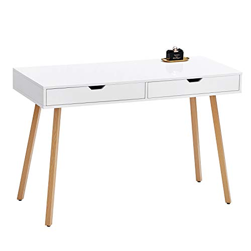 "GreenForest Vanity Desk with Glossy White Tabletop,39"" Computer Writing Desk with 2 Drawers Modern..."
