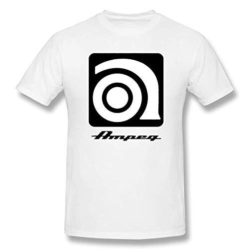 Ampeg Ampメンズカジュアルラウンドネックショートスリーブベーシックシャツグレーホワイト