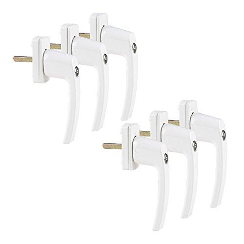 6 Stück Praktische, abschließbare Fenstergriffe, abschließbar bei geschlossenem Fenster und in Kipp-Stellung mit je 2 Schlüsseln in Weiß