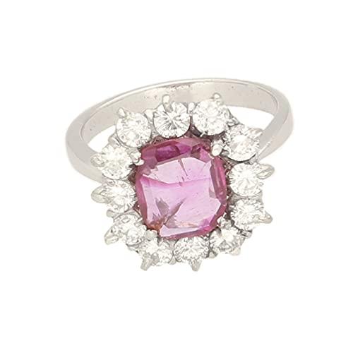 Anillo de platino para mujer de 1,20 quilates y diamantes de 1,00 quilates (tamaño K) cabeza de 14 x 14 mm, anillo de lujo para mujer