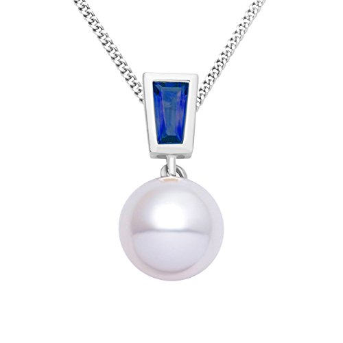 Miore women's 9ct White Gold Sapphire and Freshwater Pearl Pendant on 45cm Chain
