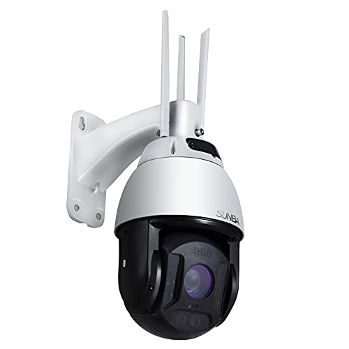 SUNBA 4G LTE Wirefree PTZ Camera Outdoor, Solar Battery Powered Security Dome, 25x Optical Zoom 1080p, Two-Way Audio and Waterproof, Long Range Infrared Night Vision up to 1000ft (603-D25X 4G)