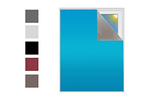 Verdunklungsstoff Sonnenschutz zu 100% Blackout Verdunkelungsstoff Thermobeschichtet Meterware für Fenster und Türen 100% verdunkelnd lichtundurchlässig Schrägdachfenster (Türkisblau)