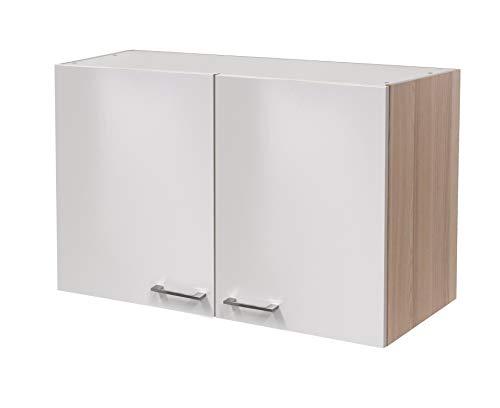 MMR Hängeschrank Küche DERRY, Küchenschrank, 2-türig, verstellbarer Einlegeboden, 100 cm breit, Perlmutt Weiß