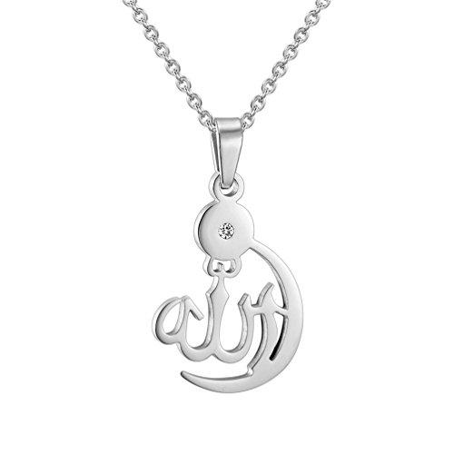 PROSTEEL Damen Collier Edelstahl Mondsichel Halbmond Anhänger Halskette Islamisch Allah Amulett Muslim Modeschmuck Accessoire Geschenk für Frauen Mädchen