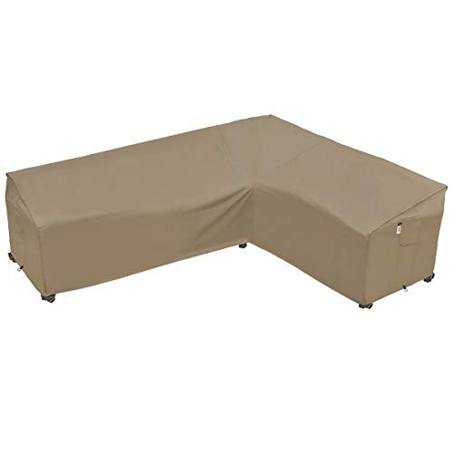 Heavy Duty Outdoor Sectional Sofa Cover, 100% Waterproof 600D Patio Sectional Couch Cover, L-Shaped Lawn Patio Furniture Winter Cover