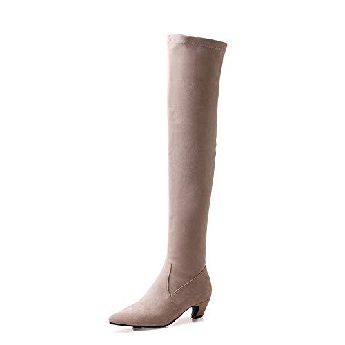 YZT QUEEN Damen Stiefel overknees, Frauen Casual Wildleder Spitzen Zehen hohe elastische Oberschenkel hohe Stiefel, Wintermode hohe Stiefel,Beige,43.5EU/9UK
