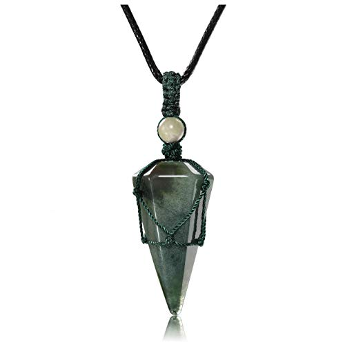 JSDDE Healing Crystal Pendant Necklace Hexagonal Stone Pointed Gemstone Necklace with Chain (Indian Agate)
