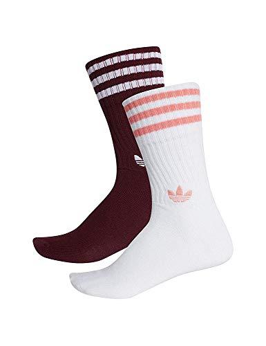 adidas Solid Crew 2Pp, Unisex-Socken für Erwachsene, Maroon/weiß/T, 43-46