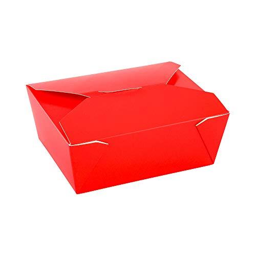 Bio Tek 98 oz Rectangle Red Paper #4 Bio Box Take Out Container - 8 1/2' x 6 1/4' x 3 1/2' - 200 count box - Restaurantware