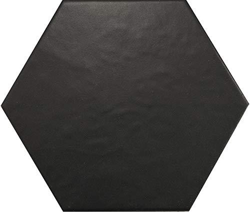 Nais - Baldosas cerámicas para suelos y paredes de interior - Colección Hexatile - Color Negro Mate (17,5x20 cm) - Caja de 1 m2 (35 piezas)