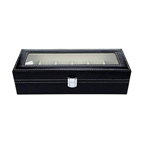 Gabinete de exhibición de reloj, caja de reloj de almacenamiento de cuero de 6 ranuras para mujer hombre caja de almacenamiento