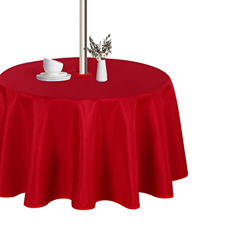 LUSHVIDA Outdoor and Indoor Tablecloth - Washable Waterproof Wrinkle Free Table Cloth with Zipper and Umbrella Hole for Spring/ Summer/ Party/ Picnic/ BBQS/ Patio (Round 60 inch, Red)