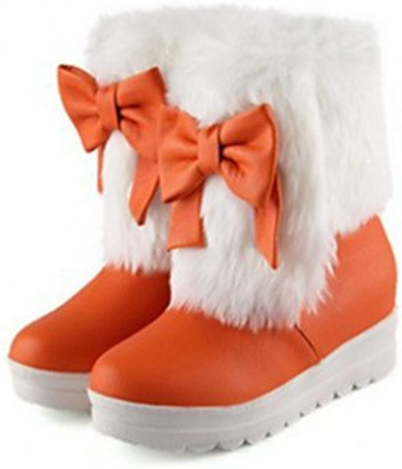Women shoes PU Fall Winter Comfort Novelty Snow Fashion Bootie Flat Heel Round Toe Booties Ankle Feather Bowknot