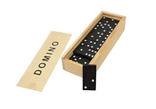 Domino Spiel Dominosteine 28 Spielsteine in Holzbox Spielzeug mit Spielanleitung