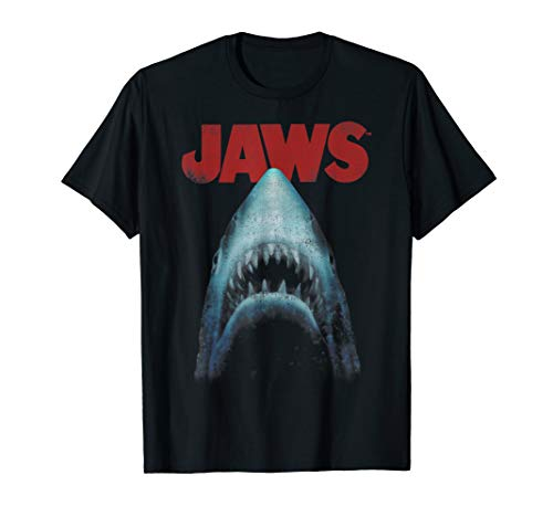 Jaws Distressed Shark Portrait Logo T-Shirt