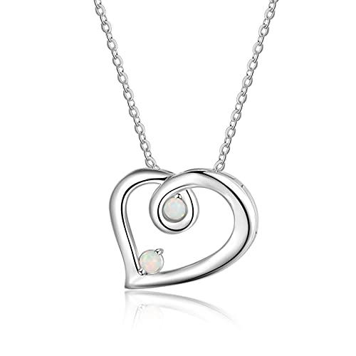 SALAN Collares De Corazón De Plata De Ley 925 para Mujer, Collares De Ópalo Blanco, Colgantes, Joyería De Boda, Regalos para El Día De La Madre