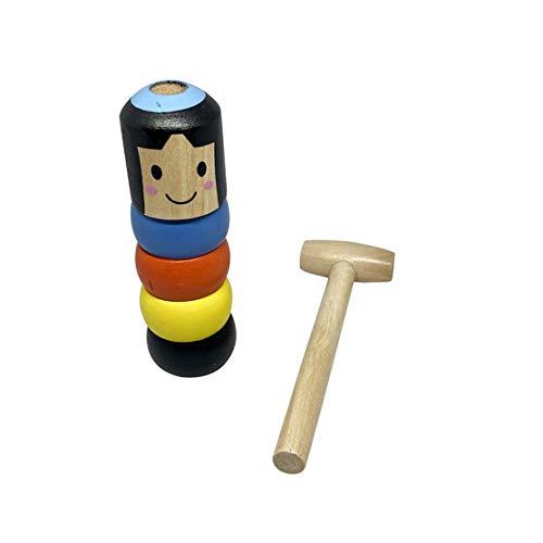 YSINFOD Halloween Magic Toys Unsterbliche Daruma Puppe Unzerbrechlicher Holzmann Zaubertricks Lustiges Spielzeug Weihnachten Halloween Immortal Toys Kleines Holzmann Spielzeug