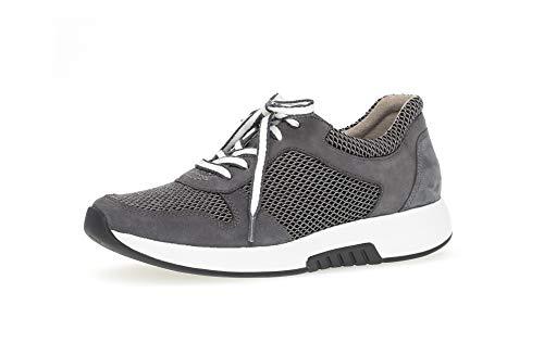 Gabor Damen Sneaker, Frauen Sneaker Low,Optifit-Wechselfußbett, strassenschuh schnürer schnürschuh sportschuh Freizeit,Grey/River,40 EU / 6.5 UK