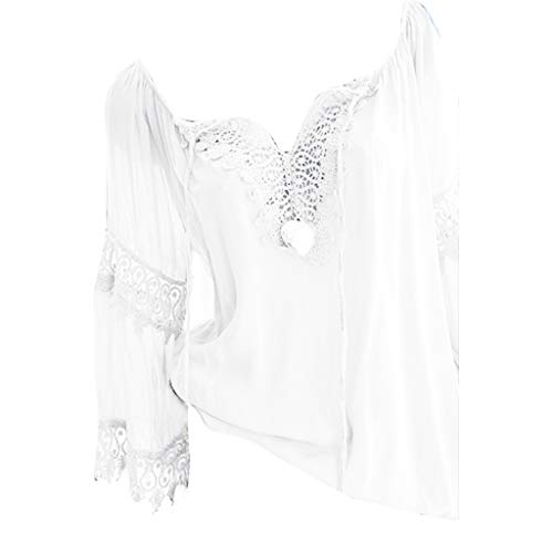 Tunika für Damen Oberteil Damen Sommer Elegante Langarmshirts Damen Bluse Tunika Frühling T-Shirt V-Ausschnitt Tops Einschulterige Spitze aus Baumwolle und Leinen (M,Weiß)