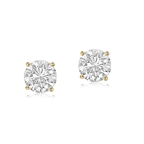 IGI Certified Lab Grown Diamond Earrings 14K Yellow Gold 1/5 CT Lab Created Diamond Solitaire Stud Earring For Women (1/5 CTTW, GH Color, SI1 Clarity Diamond Jewelry For Women)