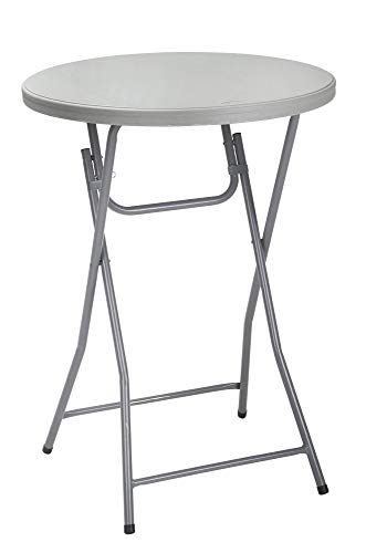 ZOWN Commercial 300 lb. Use Rate Cocktail Heavy Duty Blow Mold Banquet Folding Table, Grey