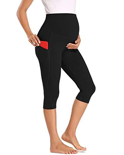 Love2Mi Trainingshose für Schwangere, 3/4 Umstands Yoga Sport Hose Schwangerschaft Jogginghose mit Taschen, Schwarz, M
