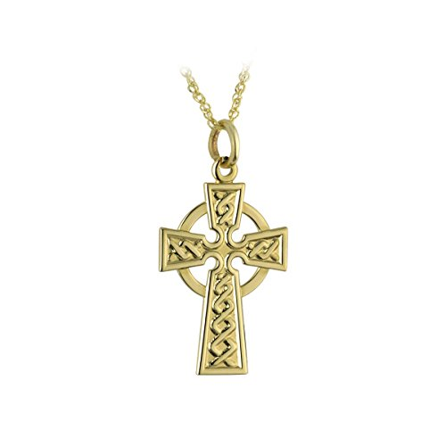 10K Gold Celtic Cross Necklace Gold ⅜ Inches x ⅝ Inches Made in Ireland