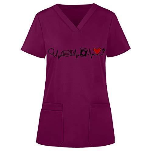 YOGALULU Kurzkasack Schlupfhemd V-Ausschnitt Bluse Kurzarm Schlupfkasack Kasack mit Motiv Pflege Damen Arzt Uniform Berufsbekleidung Krankenschwester Kleidung