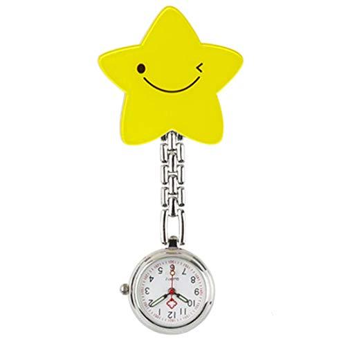 AllRing Krankenschwestern Quarz Clip-on Fob Brosche hängen Tasche Silikonuhren Easy Pull - Smile Face Star