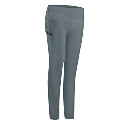 Andouy Damen Sport Leggings 7/8 Lange Blickdicht Yoga Hose Tight Sporthose Fitnesshose mit Taschen(XL.Grau)