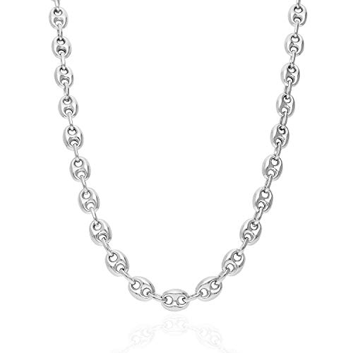 "Italy 925 Sterling Silver 8mm Puffed Anchor Mariner Link Chain Necklace 20""-30"", 22"
