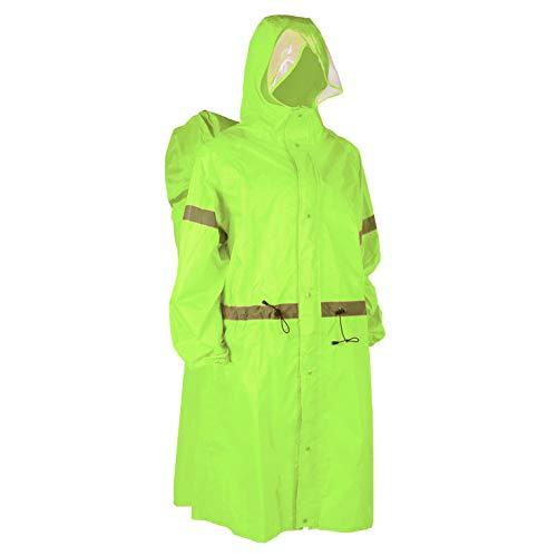 WHL.HH Außen verdickte Lange One-Piece Raincoat, beweglicher Rucksack Raincoat für Radfahren Wandertour,Fluorescent Green,S
