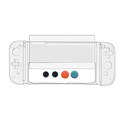 YUYAN 8 piezas carcasa de cristal cubierta de agarre templado protector pantalla compatible con interruptor OLED consola, grado diamante
