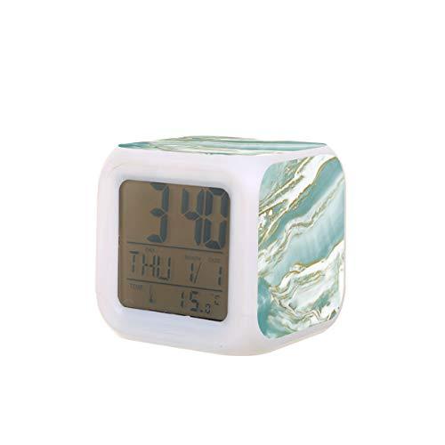 Reloj despertador eléctrico de mármol, turquesa, verde azulado y dorado, luz nocturna, temporizador de siesta, máquina de sonido para dormir, detección de temperatura con 7 colores de luces