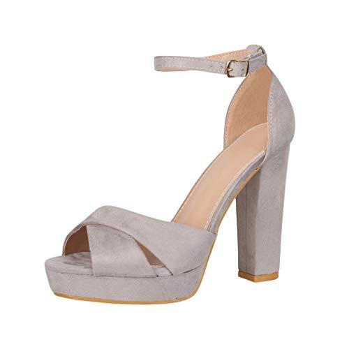 Elara Zapato de Tacón Alto para Mujer Chunkyrayan Gris B-87 Grey-37