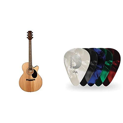 Jasmine S34C NEX Acoustic Guitar & D'Addario Assorted Pearl Celluloid Guitar...